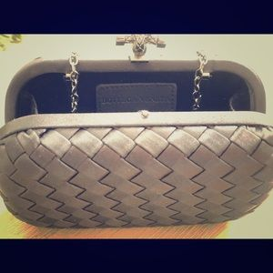 Bottega Veneta black satin clutch